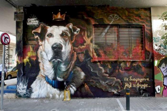 Graffiti na pamiątkę Loukanikosa wykonane na jednej z ateńskich ulic, źródło: 9gag.com